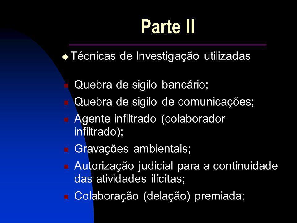 Parte II ______________________ Quebra de sigilo bancário; Quebra de sigilo de comunicações; Agente infiltrado (colaborador infiltrado); Gravações amb