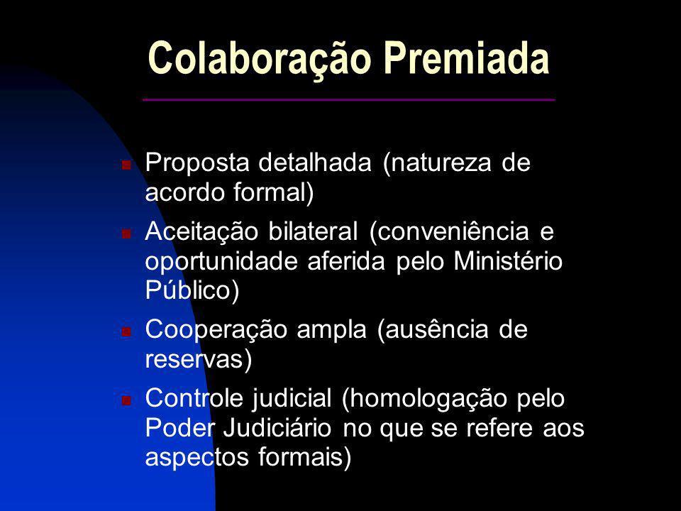 Colaboração Premiada ____________________ Proposta detalhada (natureza de acordo formal) Aceitação bilateral (conveniência e oportunidade aferida pelo