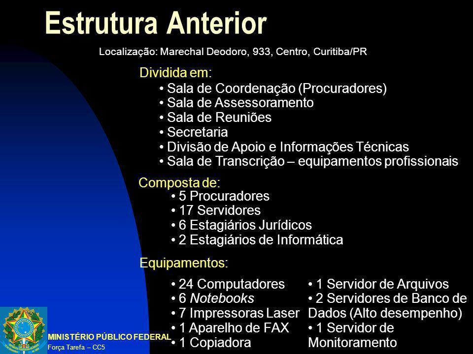Estrutura Anterior MINISTÉRIO PÚBLICO FEDERAL Força Tarefa – CC5 Localização: Marechal Deodoro, 933, Centro, Curitiba/PR 5 Procuradores 17 Servidores