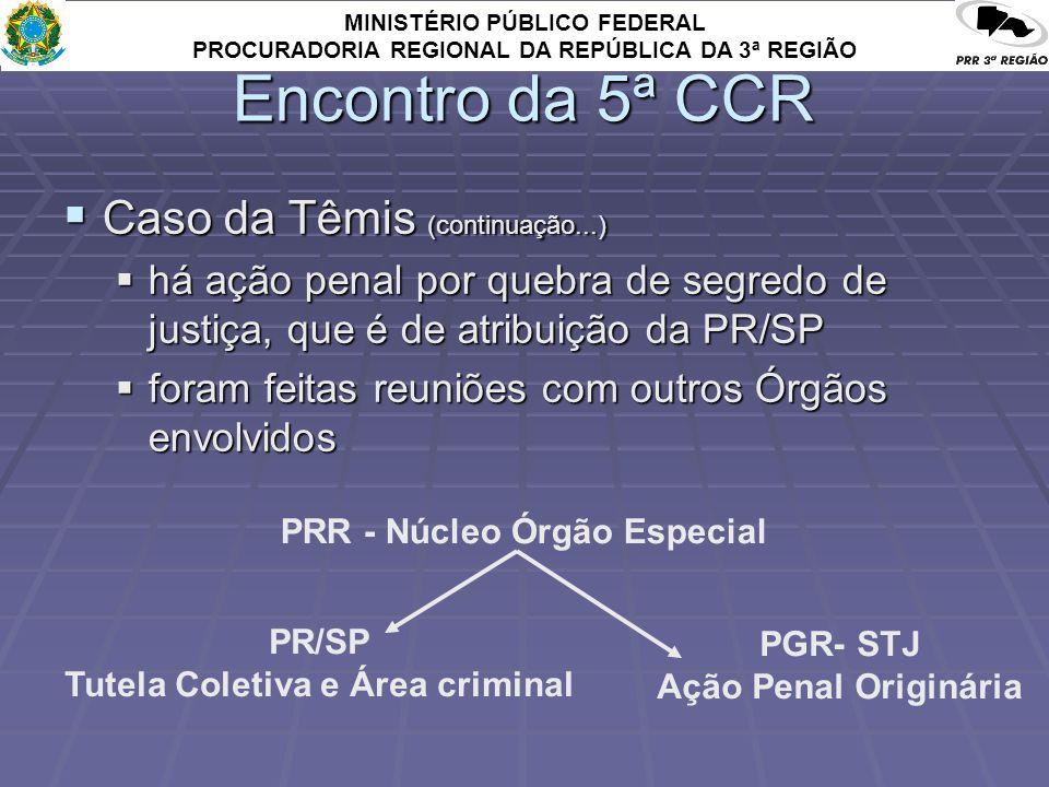 MINISTÉRIO PÚBLICO FEDERAL PROCURADORIA REGIONAL DA REPÚBLICA DA 3ª REGIÃO Encontro da 5ª CCR Caso da Têmis (continuação...) Caso da Têmis (continuação...) há ação penal por quebra de segredo de justiça, que é de atribuição da PR/SP há ação penal por quebra de segredo de justiça, que é de atribuição da PR/SP foram feitas reuniões com outros Órgãos envolvidos foram feitas reuniões com outros Órgãos envolvidos PRR - Núcleo Órgão Especial PR/SP Tutela Coletiva e Área criminal PGR- STJ Ação Penal Originária