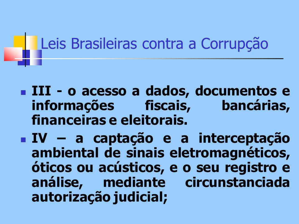 Leis Brasileiras contra a Corrupção III - o acesso a dados, documentos e informações fiscais, bancárias, financeiras e eleitorais. IV – a captação e a