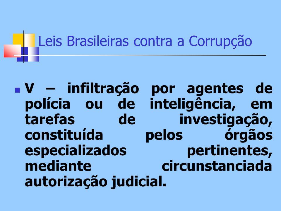 Leis Brasileiras contra a Corrupção V – infiltração por agentes de polícia ou de inteligência, em tarefas de investigação, constituída pelos órgãos es