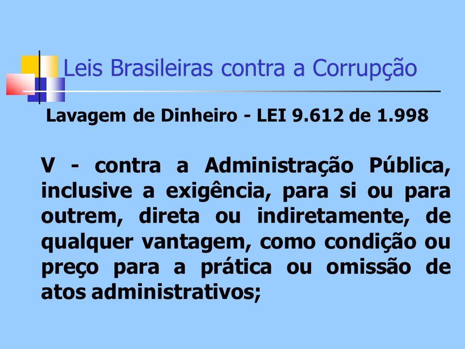 Leis Brasileiras contra a Corrupção Lavagem de Dinheiro - LEI 9.612 de 1.998 V - contra a Administração Pública, inclusive a exigência, para si ou par
