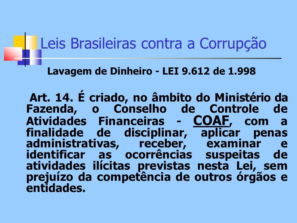 Leis Brasileiras contra a Corrupção Lavagem de Dinheiro - LEI 9.612 de 1.998 Art. 14. É criado, no âmbito do Ministério da Fazenda, o Conselho de Cont