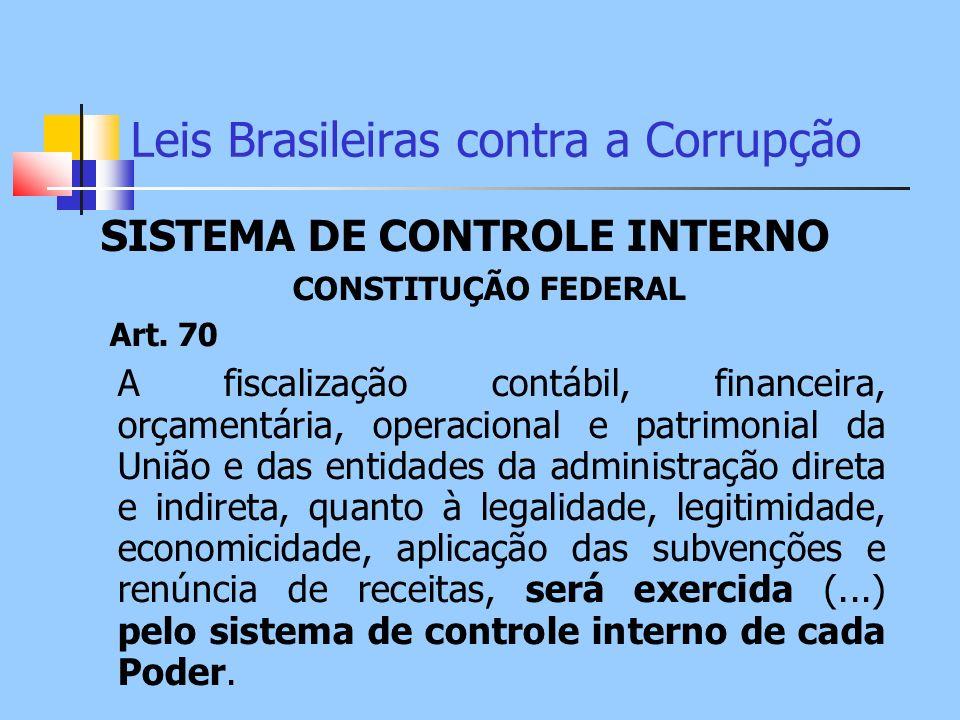 Leis Brasileiras contra a Corrupção SISTEMA DE CONTROLE INTERNO CONSTITUÇÃO FEDERAL Art. 70 A fiscalização contábil, financeira, orçamentária, operaci