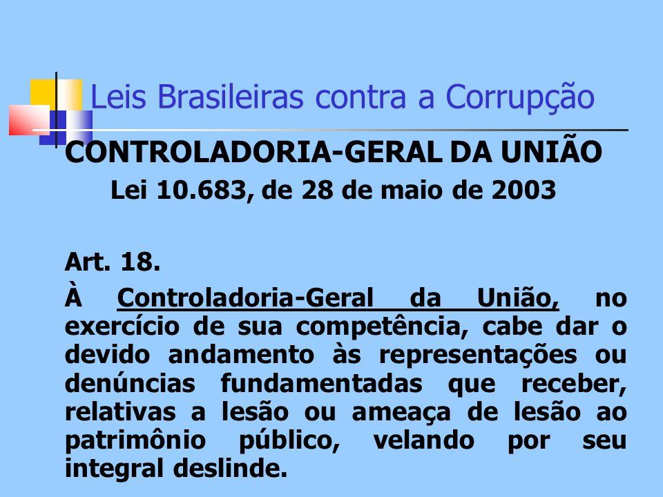 Leis Brasileiras contra a Corrupção CONTROLADORIA-GERAL DA UNIÃO Lei 10.683, de 28 de maio de 2003 Art. 18. À Controladoria-Geral da União, no exercíc
