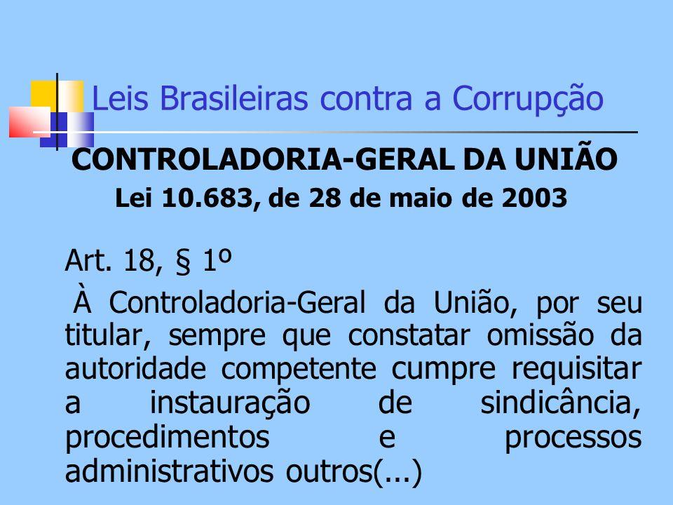 Leis Brasileiras contra a Corrupção CONTROLADORIA-GERAL DA UNIÃO Lei 10.683, de 28 de maio de 2003 Art. 18, § 1º À Controladoria-Geral da União, por s
