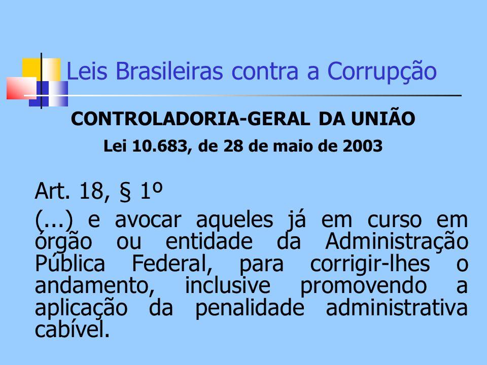 Leis Brasileiras contra a Corrupção CONTROLADORIA-GERAL DA UNIÃO Lei 10.683, de 28 de maio de 2003 Art. 18, § 1º (...) e avocar aqueles já em curso em