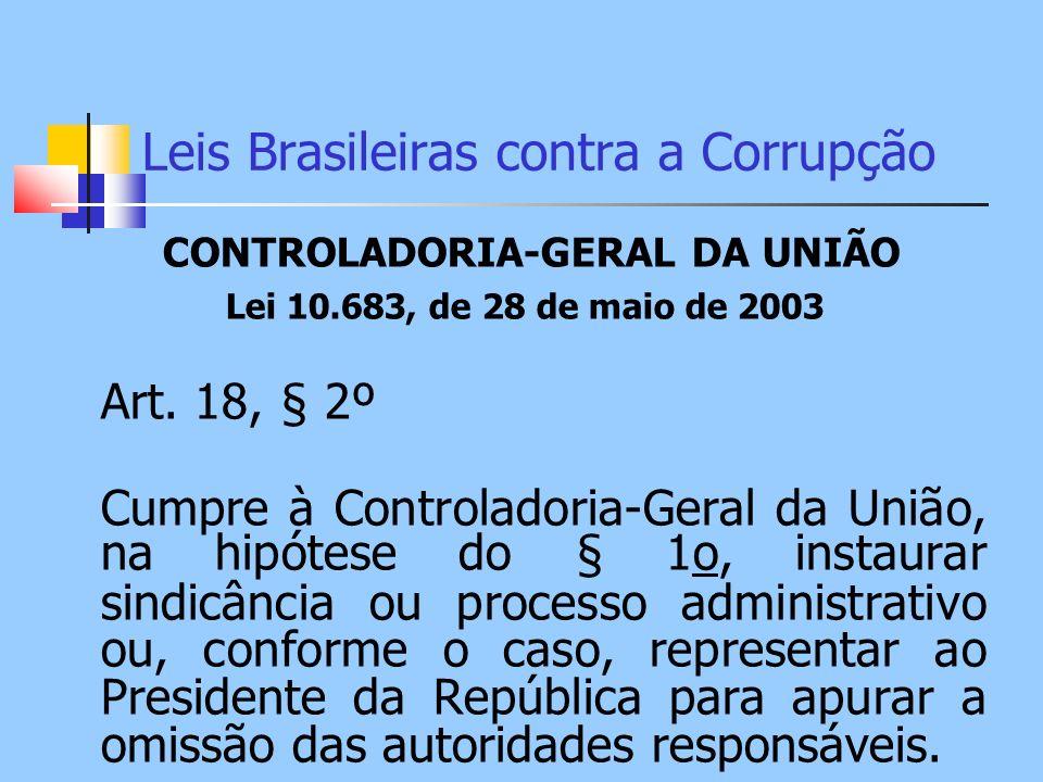 Leis Brasileiras contra a Corrupção CONTROLADORIA-GERAL DA UNIÃO Lei 10.683, de 28 de maio de 2003 Art. 18, § 2º Cumpre à Controladoria-Geral da União