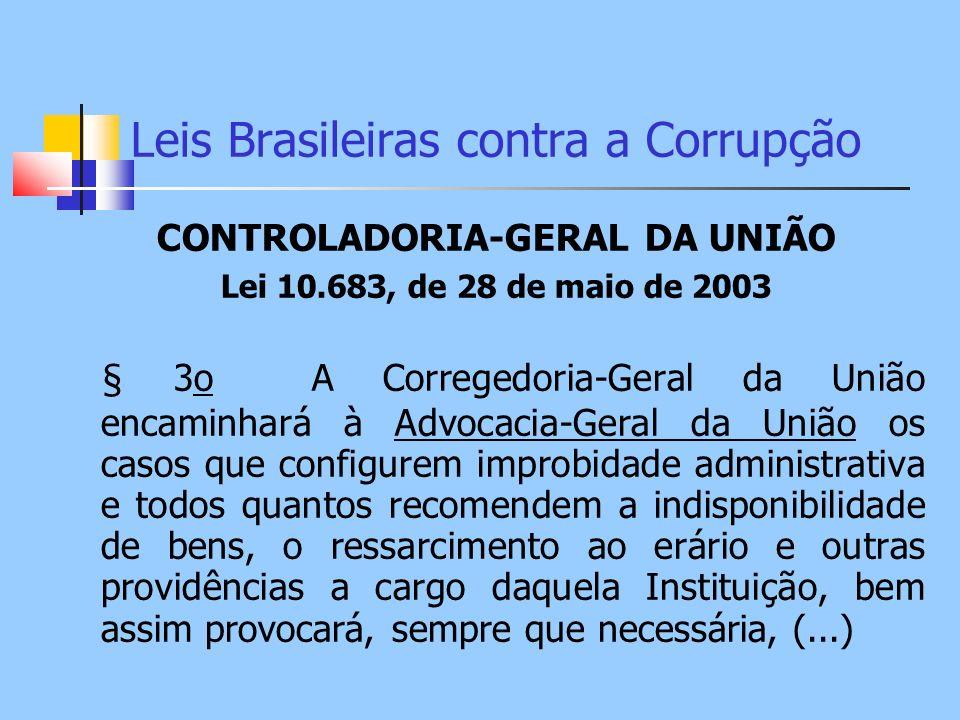 Leis Brasileiras contra a Corrupção CONTROLADORIA-GERAL DA UNIÃO Lei 10.683, de 28 de maio de 2003 § 3o A Corregedoria-Geral da União encaminhará à Ad