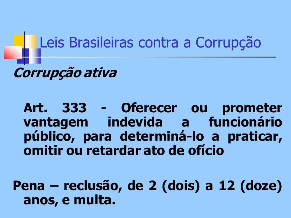 Leis Brasileiras contra a Corrupção Corrupção ativa Art. 333 - Oferecer ou prometer vantagem indevida a funcionário público, para determiná-lo a prati