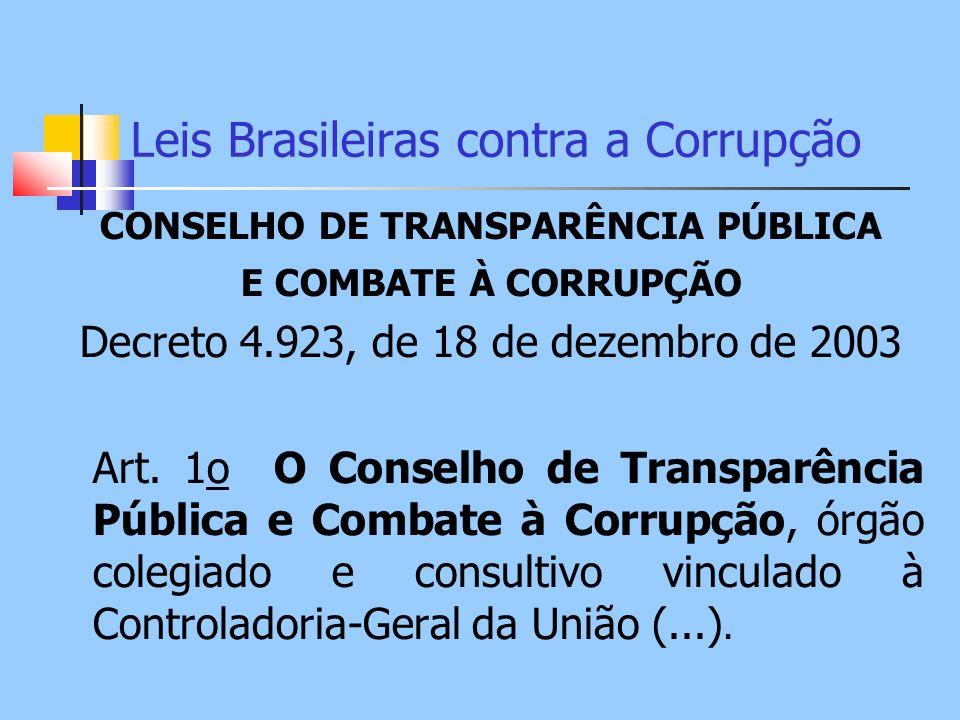 Leis Brasileiras contra a Corrupção CONSELHO DE TRANSPARÊNCIA PÚBLICA E COMBATE À CORRUPÇÃO Decreto 4.923, de 18 de dezembro de 2003 Art. 1o O Conselh
