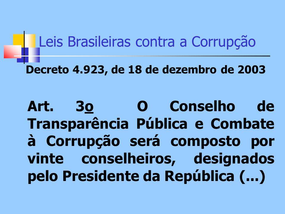 Leis Brasileiras contra a Corrupção Decreto 4.923, de 18 de dezembro de 2003 Art. 3o O Conselho de Transparência Pública e Combate à Corrupção será co