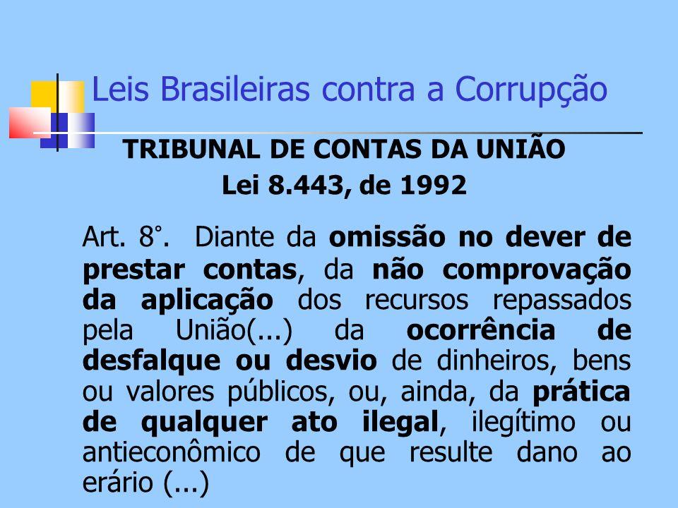 Leis Brasileiras contra a Corrupção TRIBUNAL DE CONTAS DA UNIÃO Lei 8.443, de 1992 Art. 8°. Diante da omissão no dever de prestar contas, da não compr