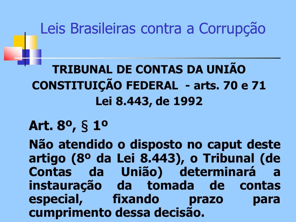 Leis Brasileiras contra a Corrupção TRIBUNAL DE CONTAS DA UNIÃO CONSTITUIÇÃO FEDERAL - arts. 70 e 71 Lei 8.443, de 1992 Art. 8º, § 1º Não atendido o d