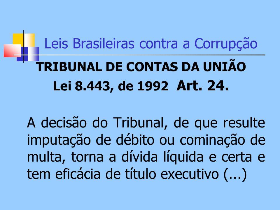 Leis Brasileiras contra a Corrupção TRIBUNAL DE CONTAS DA UNIÃO Lei 8.443, de 1992 Art. 24. A decisão do Tribunal, de que resulte imputação de débito