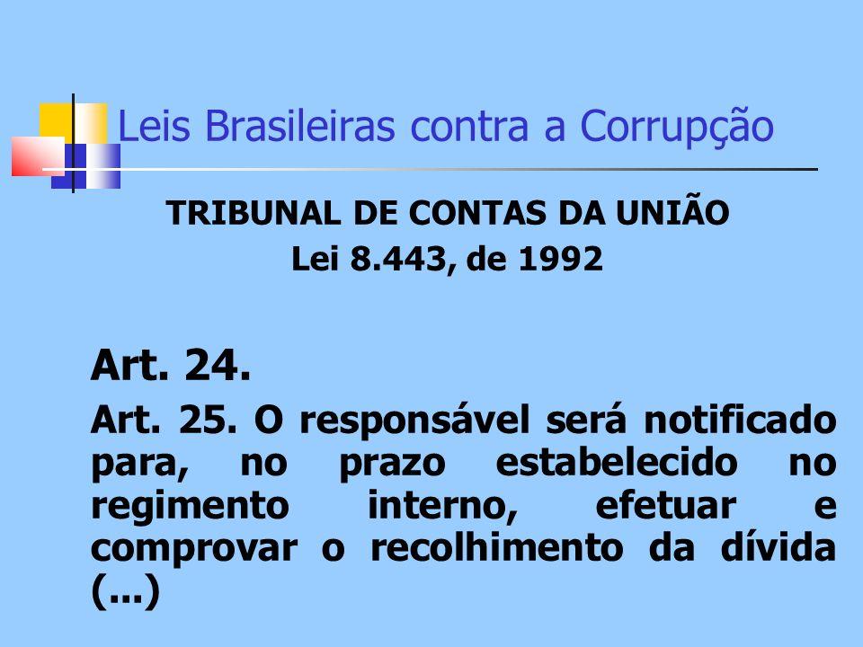 Leis Brasileiras contra a Corrupção TRIBUNAL DE CONTAS DA UNIÃO Lei 8.443, de 1992 Art. 24. Art. 25. O responsável será notificado para, no prazo esta
