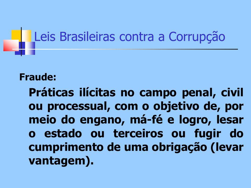 Leis Brasileiras contra a Corrupção Fraude: Práticas ilícitas no campo penal, civil ou processual, com o objetivo de, por meio do engano, má-fé e logr