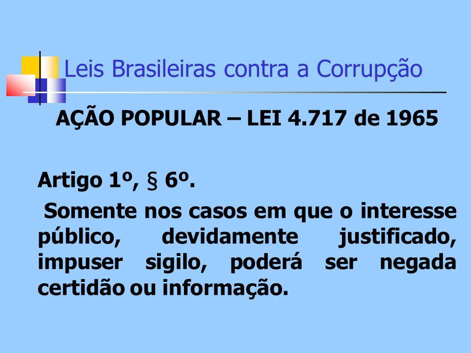 Leis Brasileiras contra a Corrupção AÇÃO POPULAR – LEI 4.717 de 1965 Artigo 1º, § 6º. Somente nos casos em que o interesse público, devidamente justif