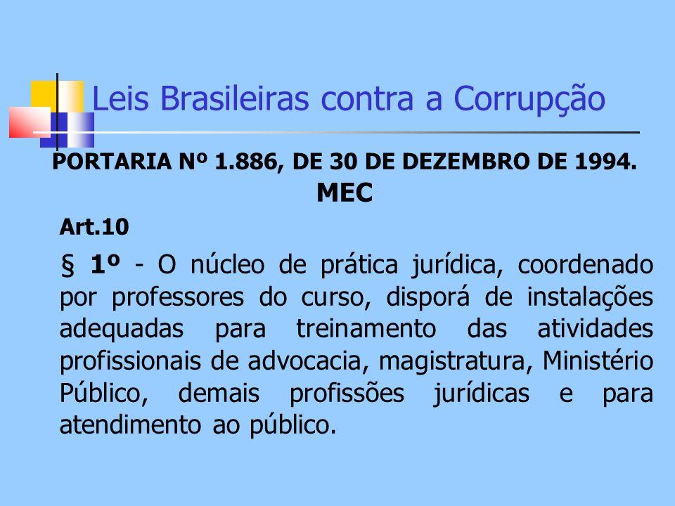 Leis Brasileiras contra a Corrupção PORTARIA Nº 1.886, DE 30 DE DEZEMBRO DE 1994. MEC Art.10 § 1º - O núcleo de prática jurídica, coordenado por profe