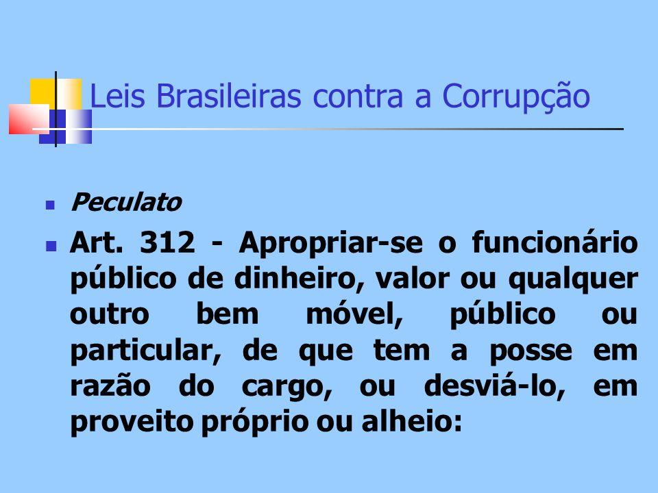 Leis Brasileiras contra a Corrupção Peculato Art. 312 - Apropriar-se o funcionário público de dinheiro, valor ou qualquer outro bem móvel, público ou