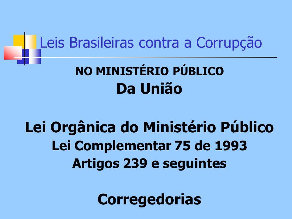 Leis Brasileiras contra a Corrupção NO MINISTÉRIO PÚBLICO Da União Lei Orgânica do Ministério Público Lei Complementar 75 de 1993 Artigos 239 e seguin