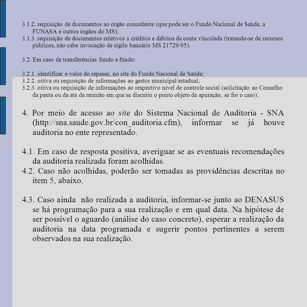 3.1.2. requisição de documentos ao órgão concedente (que pode ser o Fundo Nacional de Saúde, a FUNASA e outros órgãos do MS); 3.1.3. requisição de doc