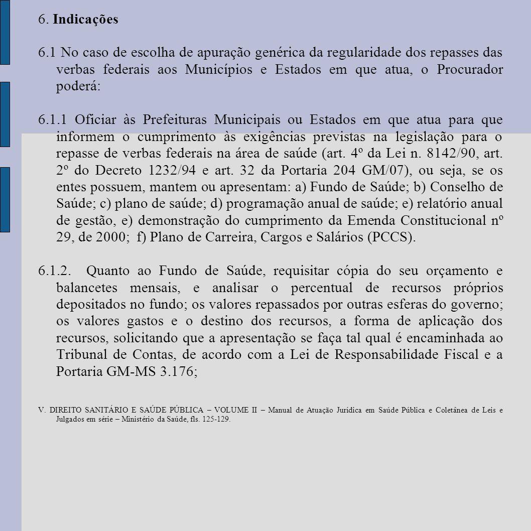 6. Indicações 6.1 No caso de escolha de apuração genérica da regularidade dos repasses das verbas federais aos Municípios e Estados em que atua, o Pro