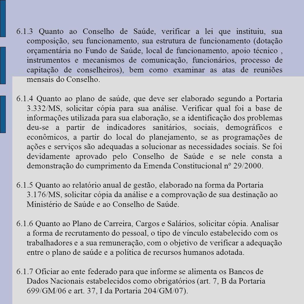 6.1.3 Quanto ao Conselho de Saúde, verificar a lei que instituiu, sua composição, seu funcionamento, sua estrutura de funcionamento (dotação orçamentá