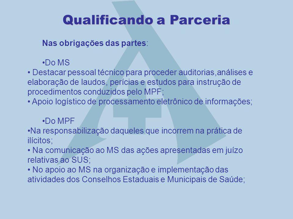 Qualificando a Parceria Nas obrigações das partes: Do MS Destacar pessoal técnico para proceder auditorias,análises e elaboração de laudos, perícias e