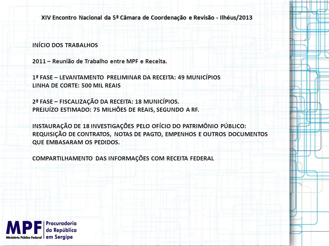 INÍCIO DOS TRABALHOS 2011 – Reunião de Trabalho entre MPF e Receita. 1ª FASE – LEVANTAMENTO PRELIMINAR DA RECEITA: 49 MUNICÍPIOS LINHA DE CORTE: 500 M