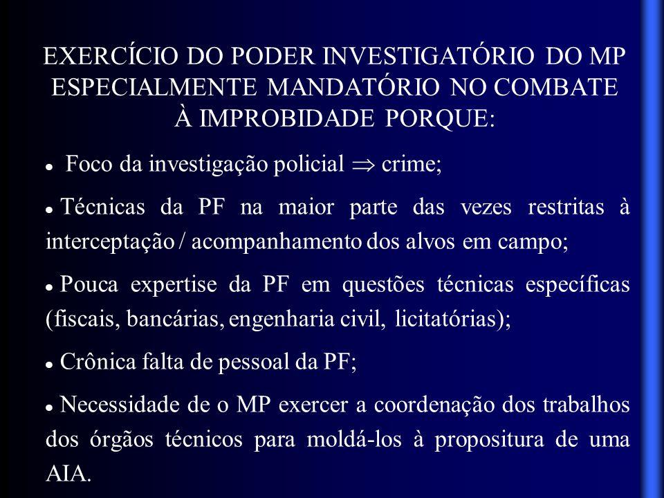 MODELO DE ATUAÇÃO IDEAL Conjugação dos esforços investigativos dos órgãos policial (PF) e técnicos especializados (SRFB, COAF, BACEN, CGU, TCU, Peritos, 5ª CCR, etc.) sob coordenação do MP, destinatário final das investigações.