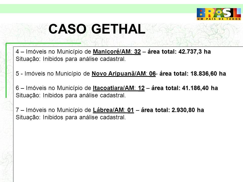 CASO GETHAL 32área total: 42.737,3 ha 4 – Imóveis no Município de Manicoré/AM: 32 – área total: 42.737,3 ha Situação: Inibidos para análise cadastral.