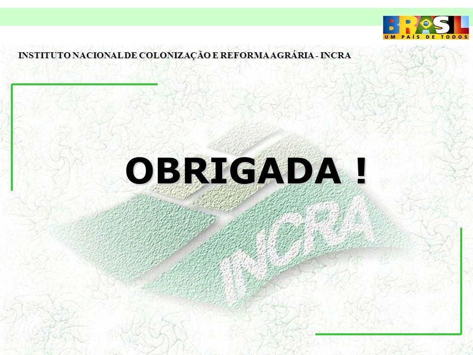 OBRIGADA ! INSTITUTO NACIONAL DE COLONIZAÇÃO E REFORMA AGRÁRIA - INCRA