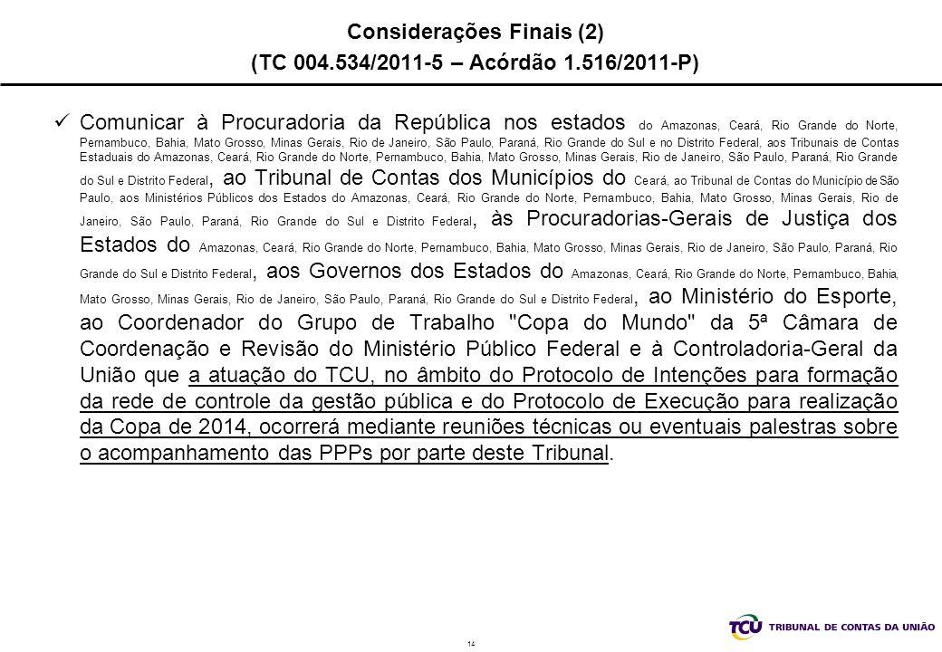 14 Considerações Finais (2) (TC 004.534/2011-5 – Acórdão 1.516/2011-P) Comunicar à Procuradoria da República nos estados do Amazonas, Ceará, Rio Grand