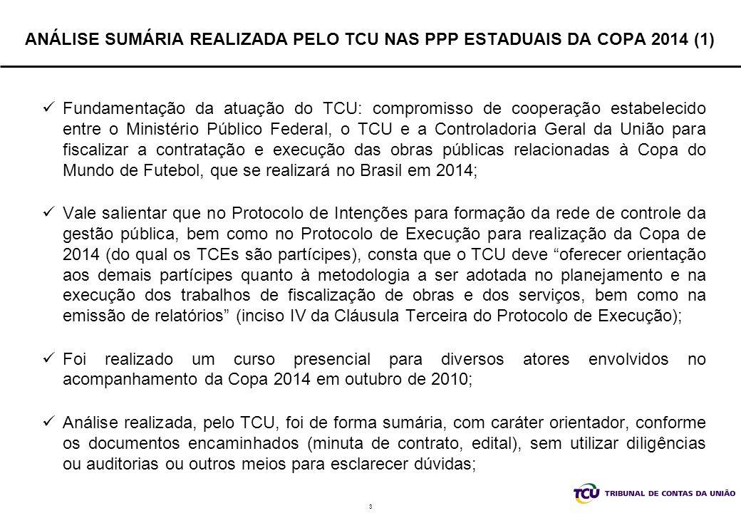 4 ANÁLISE SUMÁRIA REALIZADA PELO TCU NAS PPP ESTADUAIS DA COPA 2014 (2) Foco na repartição objetiva de riscos entre as partes, que constitui um dos pilares das parcerias público-privadas; nas cláusulas de equilíbrio econômico-financeiro do contrato; O TCU se manifestou, exercendo sua atividade orientadora aos demais pares da rede de controle no âmbito da Copa 2014, em processos de representação, a respeito dos contratos de concessão administrativa para exploração dos estádios: Arena das Dunas em Natal/RN (TCs 004.524/2011-0 e 031.636/2010-1, respectivamente, Acórdão 843/2011-TCU-Plenário, de 6/4/2011, e Despacho Ministro-Relator Valmir Campelo, de 21/12/2010); Arena Pernambuco em Recife/PE (TC 002.185/2011-3 – Acórdão 841/2011- TCU-Plenário, de 6/4/2011); Estádio Plácido Aderaldo Castelo (Castelão), na cidade de Fortaleza (TC 004.534/2011-5 – Acórdão 1.516/2011-P)