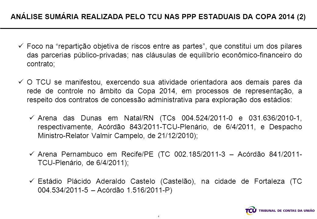 5 ANÁLISE SUMÁRIA REALIZADA PELO TCU NAS PPP ESTADUAIS DA COPA 2014 (3) PRESSUPOSTOS (TC 004.534/2011-5 – Acórdão 1.516/2011-P) As análises de viabilidade técnica, econômica, financeira e ambiental (EVTE) das PPPs contratadas pelos estados da Federação, na modalidade concessão administrativa, para a Copa do Mundo de 2014, bem como o acompanhamento dos procedimentos licitatórios e das execuções contratuais, é de competência legal dos respectivos tribunais de contas estaduais e municipais, conforme o caso; O TCU não analisou a razoabilidade do valor de contrapartida a ser paga pelos estados aos parceiros privados, bem como a modelagem econômico-financeira que cada um desses entes da federação adotou em suas PPPs; As medidas recomendadas pelo TCU aos contratos são apenas norteadoras, nos termos do Protocolo de Intenções para formação da rede de controle da gestão pública e do Protocolo de Execução para realização da Copa de 2014; Os processos realizados pelos estados não têm paridade com os processos realizados no nível federal.
