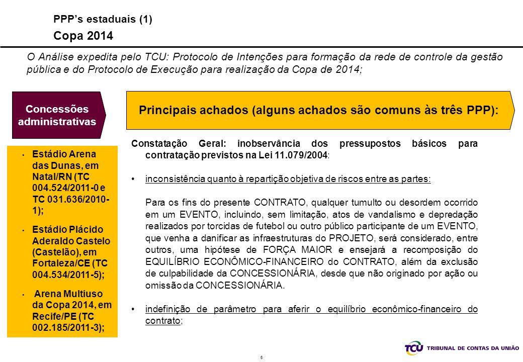 6 Concessões administrativas Constatação Geral: inobservância dos pressupostos básicos para contratação previstos na Lei 11.079/2004: inconsistência q