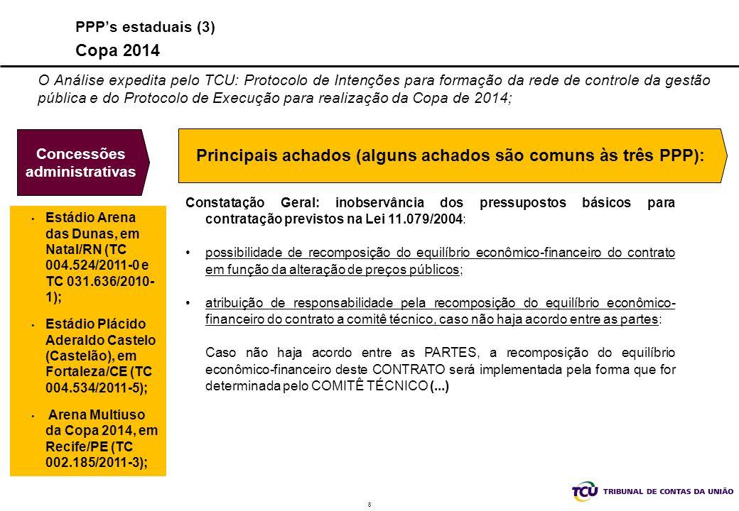 9 Análise das PPP pelo TCU IN TCU 52/2007 IN n.º 52/2007 (PPP) 3º estágio - habilitação e declaração do licitante de conhecimento de todas informações s/ o objeto da PPP 2º estágio - consulta pública, audiência pública (?)e edital; 1º estágio - viabilidade técnica/econômico-financeira e parâmetro do EEF; 5º estágio - Ato de outorga, contrato assinado e cópia da proposta EF em meio magnético; 4º estágio - Julgamento da licitação e consistência do FC Controle Concomitante: Permite correção de falhas antes do lançamento do edital, antes da licitação e antes da assinatura do contrato, com menor custo para o processo regulatório.