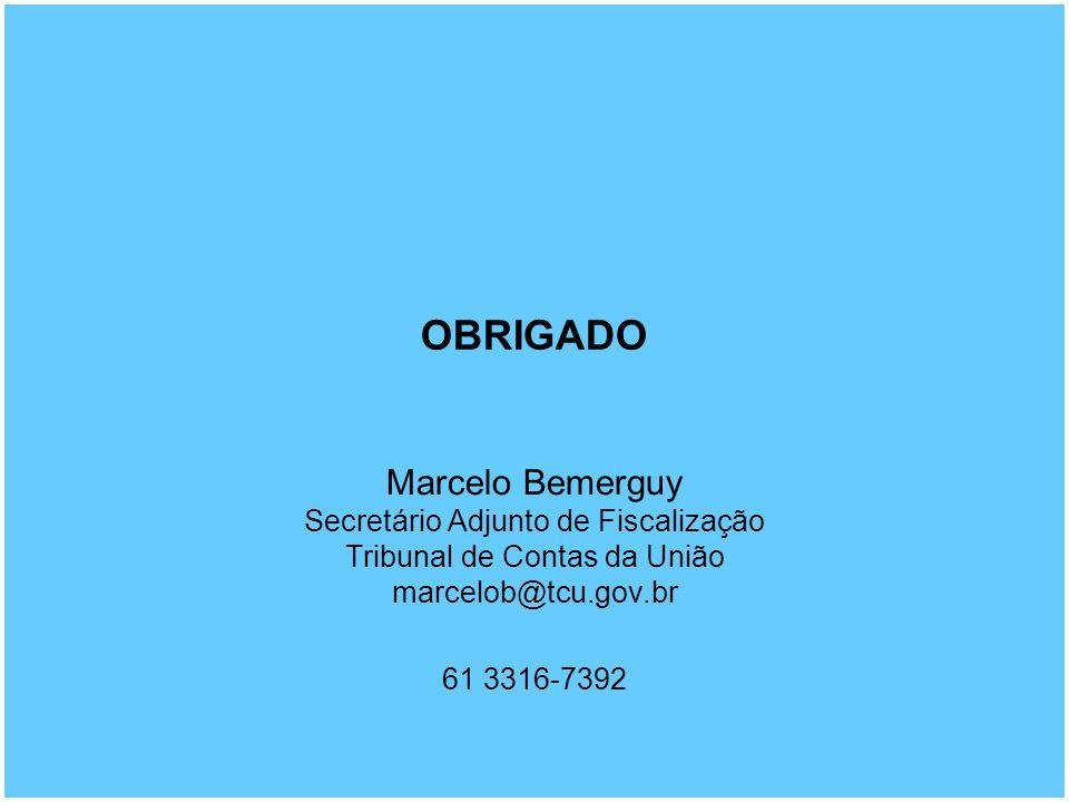 OBRIGADO Marcelo Bemerguy Secretário Adjunto de Fiscalização Tribunal de Contas da União marcelob@tcu.gov.br 61 3316-7392