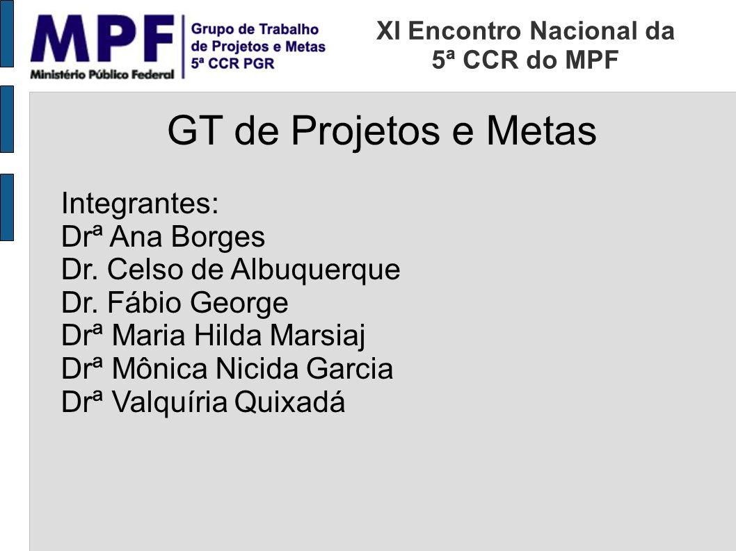 GT de Projetos e Metas Integrantes: Drª Ana Borges Dr.