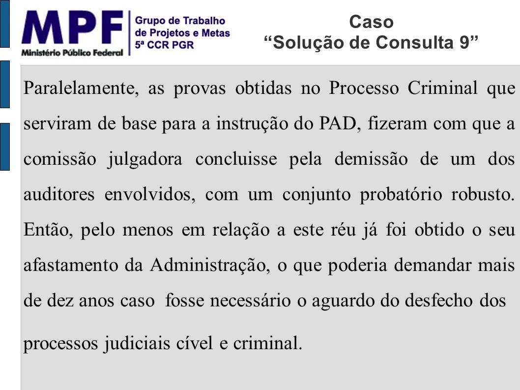 Paralelamente, as provas obtidas no Processo Criminal que serviram de base para a instrução do PAD, fizeram com que a comissão julgadora concluisse pela demissão de um dos auditores envolvidos, com um conjunto probatório robusto.