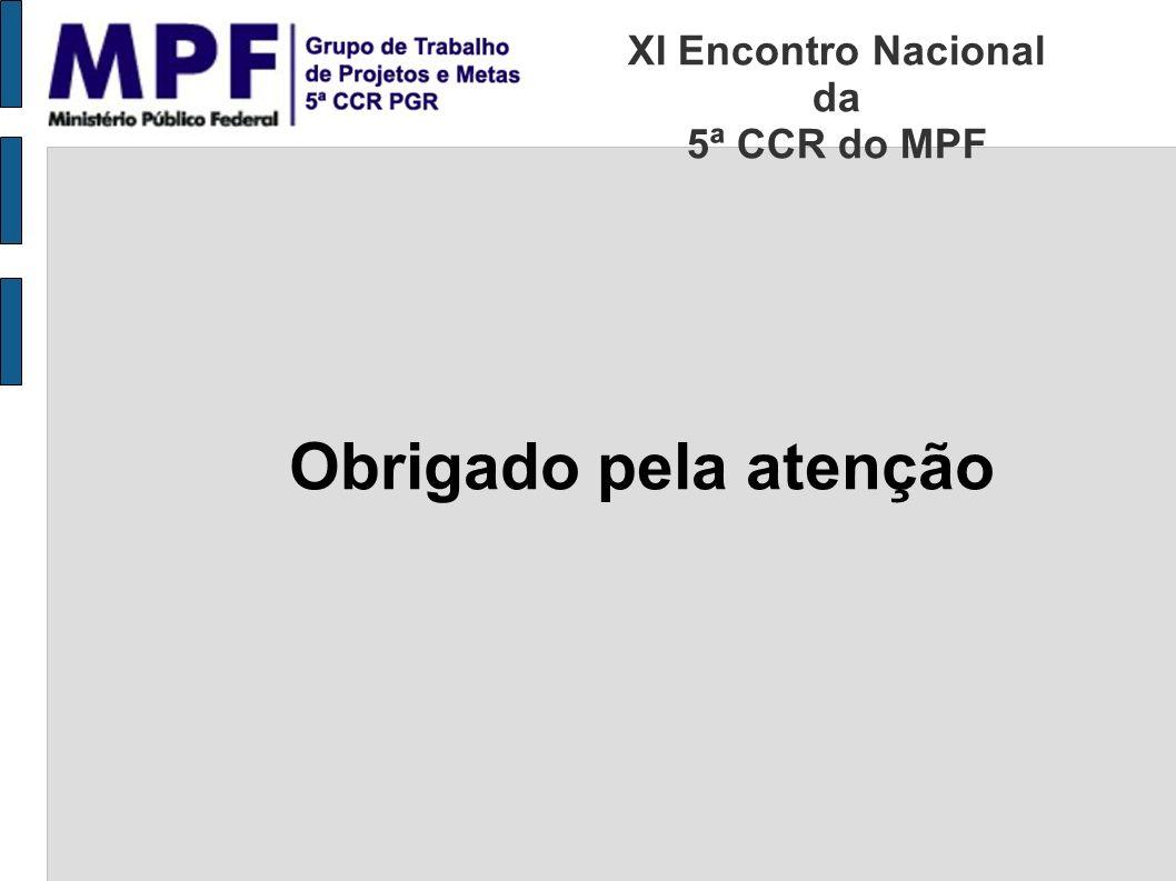 Obrigado pela atenção XI Encontro Nacional da 5ª CCR do MPF