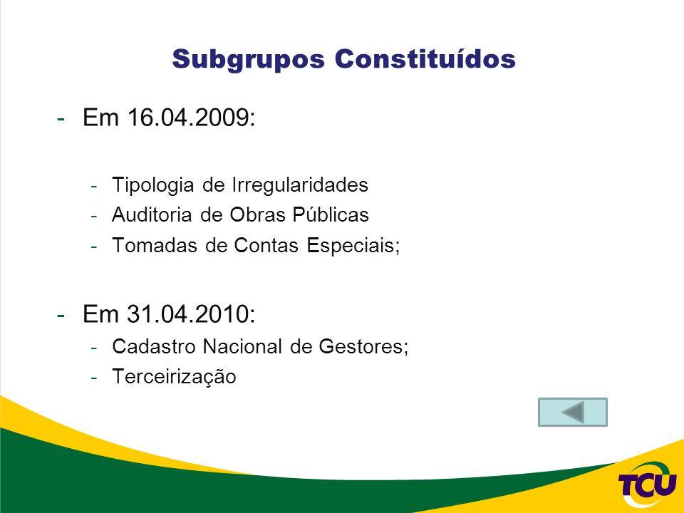 Subgrupos Constituídos -Em 16.04.2009: -Tipologia de Irregularidades -Auditoria de Obras Públicas -Tomadas de Contas Especiais; -Em 31.04.2010: -Cadas