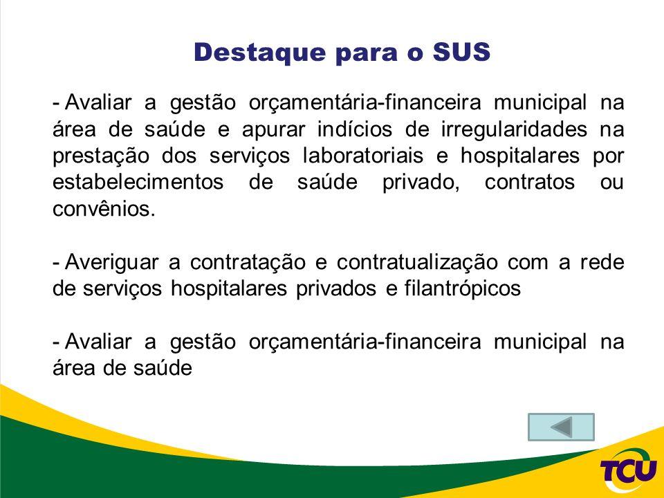 - Avaliar a gestão orçamentária-financeira municipal na área de saúde e apurar indícios de irregularidades na prestação dos serviços laboratoriais e h