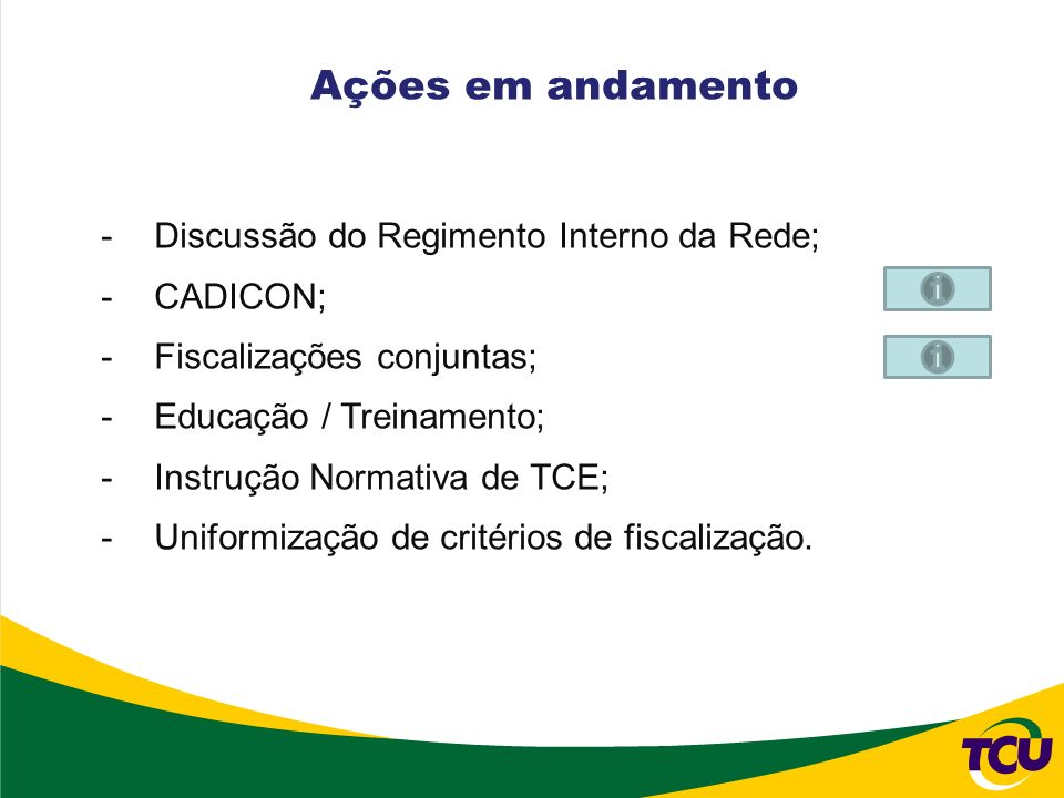 -Discussão do Regimento Interno da Rede; -CADICON; -Fiscalizações conjuntas; -Educação / Treinamento; -Instrução Normativa de TCE; -Uniformização de c