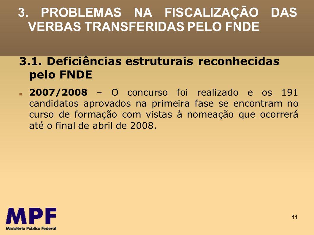 11 3. PROBLEMAS NA FISCALIZAÇÃO DAS VERBAS TRANSFERIDAS PELO FNDE 3.1. Deficiências estruturais reconhecidas pelo FNDE 2007/2008 – O concurso foi real