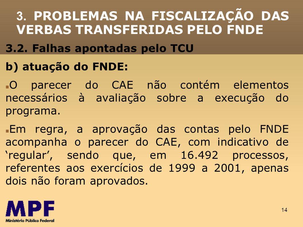 14 3.2. Falhas apontadas pelo TCU b) atuação do FNDE: O parecer do CAE não contém elementos necessários à avaliação sobre a execução do programa. Em r