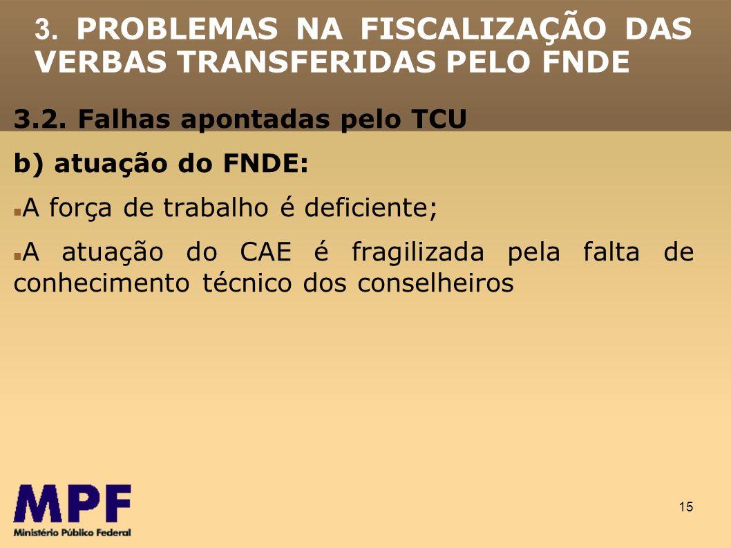 15 3. PROBLEMAS NA FISCALIZAÇÃO DAS VERBAS TRANSFERIDAS PELO FNDE 3.2. Falhas apontadas pelo TCU b) atuação do FNDE: A força de trabalho é deficiente;