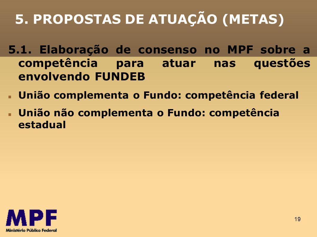 19 5. PROPOSTAS DE ATUAÇÃO (METAS) 5.1. Elaboração de consenso no MPF sobre a competência para atuar nas questões envolvendo FUNDEB União complementa